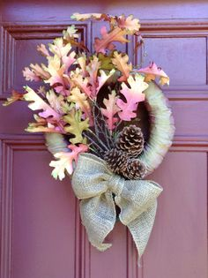 Artistic Fall Wreath with Oak Leaves, Burlap Bow and Taffeta Ribbon. Thanksgiving, Harvest Decor, Faux Branches, Oak Leaves, Pine Cones.