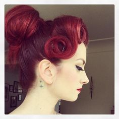 Cherry Dollface. Pinup updo.