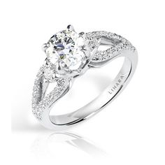 Lihara and Co. 18k White Gold Cubic Zirconia and 2/5ct TDW Diamond Semi-Mount Engagement Ring