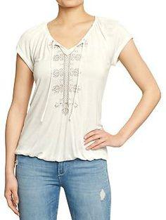 Women's Embroidered Jersey Top in Sea Salt $17.94 #oldnavy