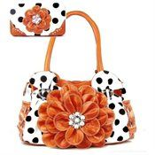 Polka Dot Black Flower Rhinestone Purse W Matching Wallet Price: $62.99 FREE SHIPPING