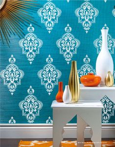 Would love this in a bathroom. Moroccan Allower Pattern Wall Room Decor Made by by OMGstencils, $33.00