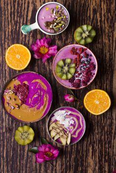 Pink dragon fruit smoothie bowls. | Vegan, gluten free, paleo, and vegetarian. | Click for healthy recipe. | Via Rainbow Nourishments