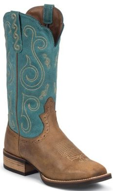 Justin Silver Cattleman Cowgirl Boots - Square Toe - Sheplers