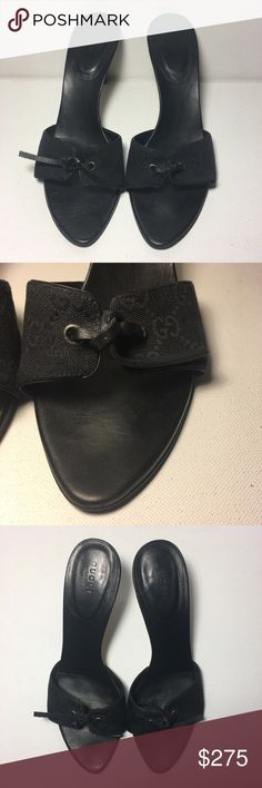 Vintage Gucci Black Monogram Heeled Sandals 💯% Authentic Vintage Gucci Black Monogram Canvas Leather Slide Heeled Sandals SZ 9 Black monogram canvas and leather open toe slide sandals from Gucci. Stacked leather mid height heel. Knot tie detail at the front. Leather soles. Style # 107626. Size: 9 Color: Black Made in: Italy Fabric Content: Canvas, Leather New $800 and their in mint condition 😁 Gucci Shoes Heels