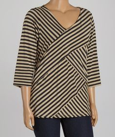 Another great find on #zulily! Khaki & Black Stripe Bandage V-Neck Tunic - Plus by Allie & Rob #zulilyfinds
