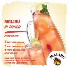 3 parts Malibu rum, 1 part grenadine, 4 parts orange juice Malibu Rum Drinks, Bar Drinks, Cocktail Drinks, Alcoholic Drinks, Beverages, Cocktail Recipes, Refreshing Drinks, Summer Drinks, Pineapple Orange Juice