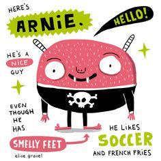 Elise Gravel illustration • Arnie the pink monster.