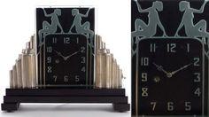 Relógio de vidro transparente com iluminação lateral e figuras nuas congeladas. Autor desconhecido, EUA, cerca de 1935