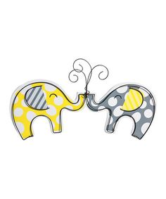 Look at this #zulilyfind! Gray & Yellow Polka Dot Elephant Wall Art by Blossoms & Buds #zulilyfinds