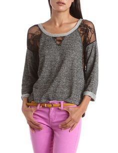 Lace Inset French Terry Top