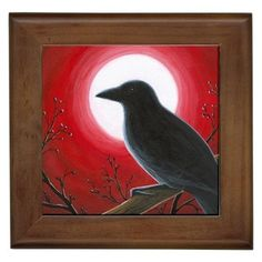 Framed Ceramic Tile Bird 62 Crow Raven Moon Red from art painting by L.Dumas