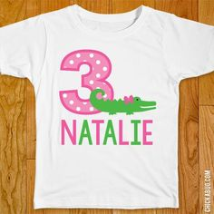 Make a one-of-a-kind birthday shirt with this personalized iron-on shirt transfer! Printed on a high-quality... Alligator Party, Alligator Birthday, Crocodile Party, Iron On Transfer, Party Shirts, Diy Party, Step By Step Instructions, Birthday Shirts, Parchment Paper