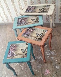 This Pin was discovered by Nur Cute Furniture, Decoupage Furniture, Paint Furniture, Repurposed Furniture, Shabby Chic Furniture, Furniture Makeover, Furniture Painting Techniques, Decoupage Vintage, Painted Chairs