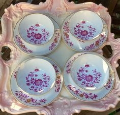 """Pretty Pink Addiction-Set of 4 B & Co Limoges L Bernardaud """"Chang-Hai"""" Teacups and Saucers by PrettyPinkAddiction on Etsy"""