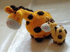 Giraffe met kleintje Crochet Hats, Crocheted Hats