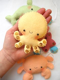PDF pattern - Four cute sea creatures - octopus, whale, starfish and crab - DIY felt ornaments, baby crib mobile.  $8.50