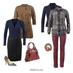 """Dark denim hues   animal prints! """"Like"""" if you are ready for Fall.http://bit.ly/1y2CIrz www.jeanettemurphey.cabionline.com"""