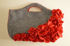 Handmade Felt Tote Bag  Red flowers on gray by HandcraftedFeltBags, $105.00