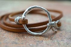 Leather wrapping Bracelet with Silver Ring