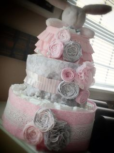 Custom Diaper Cakes Elegant Beautiful. $55.00, via Etsy.