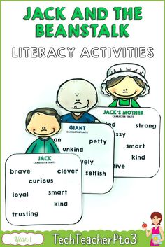 Explore Jack and the Beanstalk with these literacy activities such as sequencing, character traits, story events and comprehension. Literacy Skills, Literacy Activities, Teaching Resources, Primary School Curriculum, Character Traits Activities, School Site, Sentence Strips, Story Sequencing, Teaching English Grammar