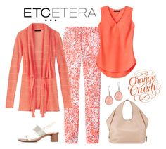 """""""Etcetera: Orange Crush Trend: ADOBE sweater, OVERLAY blouse, MUSE printed jeans."""" by etcetera-nyc ❤ liked on Polyvore featuring Etcetera, Tory Burch, Ippolita, Tom Ford, casuallifestyle, etceteracollection, etceteranyc and summer2016"""