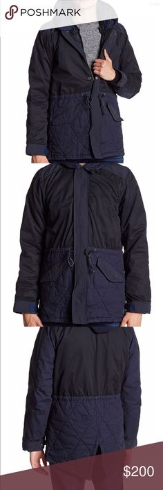 """Scotch and soda brand new mens parka jacket size M Scotch and soda mens parka jacket brand new with tags never worn size M - Stand-up collar with detachable hood - Long sleeves with inset banded cuffs and adjustable snap button tabs - Front zip closure  - 2 front slash pockets  - Colorblock construction - Drawstring waist cinch - Quilted lower detail - Detachable lining - Approx. 33"""" length Fiber Content Shell: 100% cotton Contrast: 45% polyester, 44% cotton, 11% nylon Lining: 70% cotton…"""