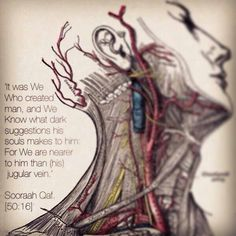 Allah (God) is closer to u than yr Jugular vein. Quran Quotes Love, Islamic Love Quotes, Allah Quotes, Zayn Malik Quotes, Miracles Of Quran, Peace Meaning, Allah God, Noble Quran, All About Islam