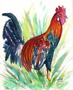 44707187c648e6 Colorful Kauai Rooster Original Watercolor Painting from Kauai Hawaii red  teal black sienna