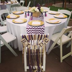 Purple, gold and chevron bridal shower
