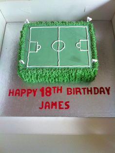Football pitch cake Dad Birthday Cakes, Happy Birthday, Football Pitch Cake, Cupcake Cakes, Cupcakes, How To Make Cake, Cake Ideas, Cake Decorating, The Creator