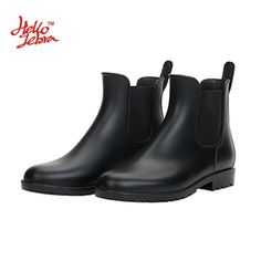 Hellozebra Women Rain Boots Waterproof Fashion Ankle Rubber Elastic Band Solid Color Raining day Shoes Low Heel 2016 Autumn New - http://bootsportal.net/?product=hellozebra-women-rain-boots-waterproof-fashion-ankle-rubber-elastic-band-solid-color-raining-day-shoes-low-heel-2016-autumn-new