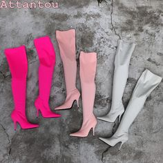 17 European wind super high with stovepipe elastic boots socks boots solid  color pointed sexy high fa0b46135ec5