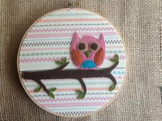 Items similar to Little Pink Owl Embroidery Hoop Art on Etsy Embroidery Hoop Crafts, Embroidery Hoop Art, Pink Owl, Felt Projects, Felt Crafts, Aud, Owls, Sewing Ideas, Arts And Crafts