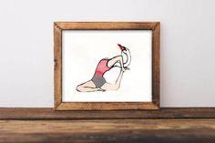 Ilustración Yoga Cisne por lusouki en Etsy