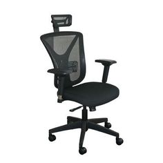 Marvel Office Furniture Fermata Mesh Desk Chair Upholstery Color: Black Fabric and Black Base, Headrest Included: Yes