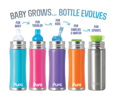 Bottles that grows with your baby - Pura Kiki Stainless-Steel Baby Bottles. BPA-free and Eco-friendly. Toddler Bottles, Baby Bottles, Water Bottles For Kids, Toddler Water Bottle, Milk Bottles, Pura Kiki, Baby Kind, Baby Store, Natural Baby