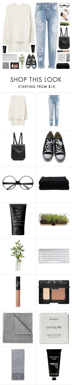 """""""The Soul is the voice of the body's interests."""" by novalikarida ❤ liked on Polyvore featuring MANGO, Dsquared2, GRETCHEN, Converse, Home Source International, NARS Cosmetics, Vellux, Byredo, Topshop and TokyoMilk"""