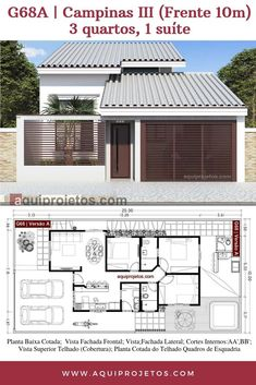 Modern home design Modern Bungalow House Design, Minimal House Design, Small Modern House Plans, Small House Floor Plans, Simple House Plans, Bungalow House Plans, Small House Design, House Layout Plans, House Layouts