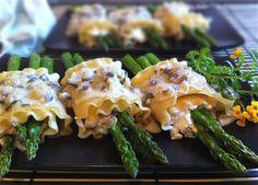 Asparagus Ricotta Lasagna Rolls w/Mushroom Tarragon Sauce