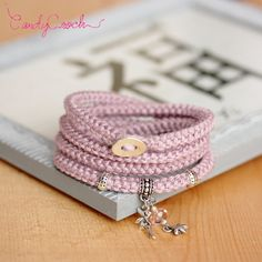 Multistrands icord bracelet silver and old pink cotton // Yarn wrap crochet bracelet // Girly romantic jewelry // Bracelet with fairy charm