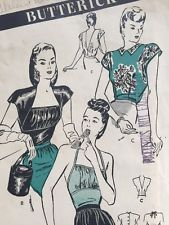 Vintage Butterick Sewing Pattern for Womens Blouse Halter Top 3747 FF Complete
