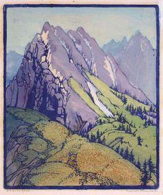 "Frances Gearhart, A Sierra Spur, c. 1935, color block print on Japanese paper, 11"" x 9-3/16"""