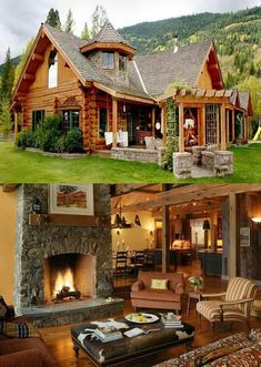 Modern Cabin Home Design Log Cabin Living, Log Cabin Homes, Log Cabins, Cabins In The Woods, House In The Woods, Style At Home, Cabins And Cottages, Cabana, My Dream Home