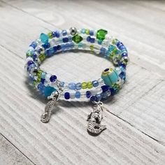 Items similar to Sealife Memory Wire Bracelet Seahorse Charm Bracelet Mermaid Charm Bracelet Free US Shipping. on Etsy Memory Wire Bracelets, Seed Bead Bracelets, Bracelets For Men, Bracelet Set, Fashion Bracelets, Fashion Jewelry, Seed Beads, Bead Jewelry, Ankle Bracelets