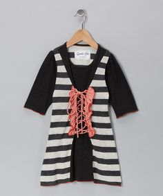Take a look at this Orange Sorbet Stripe Lace-Up Dress - Toddler & Girls on zulily today!