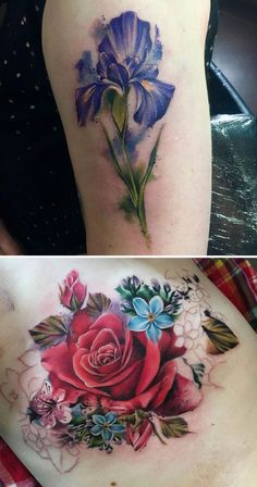 30 Floral Tattoo Artists Who Will Make You Want To Get Inked - Submission to 'Floral-Tattoo-Artists' - Iris Tattoo, Rose Tattoos, Flower Tattoos, Body Art Tattoos, New Tattoos, Tatoos, Tattoo Designs, Floral Tattoo Design, Pretty Tattoos