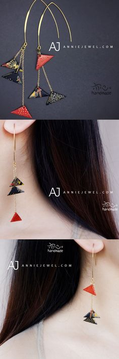 HANDMADE EARRINGS ORIGAMI TRIANGLE THREAD LONG DROP DANGLE GIFT JEWELRY