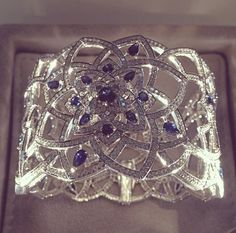 Mappin and webb floresco diamond and sapphire cuff via@professioneljeweller
